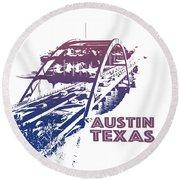 Austin 360 Bridge, Texas Round Beach Towel