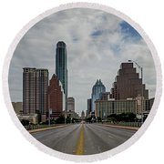 Austin From Congress Street Bridge Round Beach Towel