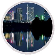 Austin Reflects In Ladybird Lake Round Beach Towel