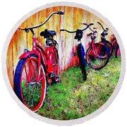Austin Texas Bikes  -- Original Painting Round Beach Towel