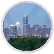 Austin Texas Building Skyline After The The Lights Are On Round Beach Towel