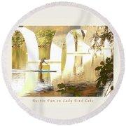 Austin Texas - Lady Bird Lake - Mid November Three - Greeting Card Round Beach Towel by Felipe Adan Lerma