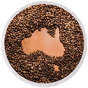 Australia Cafe Artwork Round Beach Towel