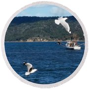 Australia - Seagulls And Trawlers Round Beach Towel