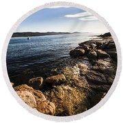 Australian Bay In Eastern Tasmania Round Beach Towel