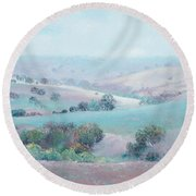 Australian Country Landscape Painting Round Beach Towel