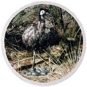 Australian Emu Round Beach Towel