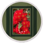 Australian Red Eucalyptus Flowers With Design Round Beach Towel