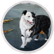 Australian Shepard Border Collie Round Beach Towel