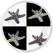 Australian Starfish Composite Design Round Beach Towel
