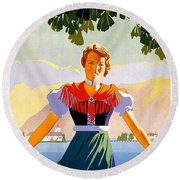 Austria, Young Woman In Traditional Dress Invites You, Danube River Round Beach Towel