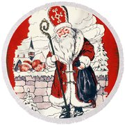 Austrian Christmas Card Round Beach Towel