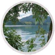 Austrian Lake Through The Trees Round Beach Towel