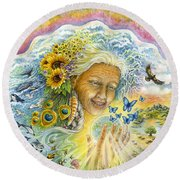 Great Mother Round Beach Towel