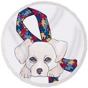 Autism Awareness And Puppy Love Round Beach Towel