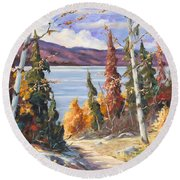 Automn Colors Round Beach Towel