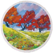 Automn Trees Round Beach Towel