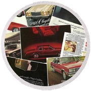 Automotive Ad's Collage 2 Round Beach Towel