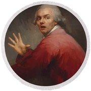 Autoportrait En Homme Surpris Et Terroris 1791 Round Beach Towel