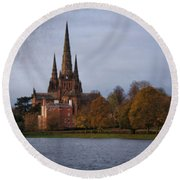 Autumn Lichfield Cathedral Round Beach Towel