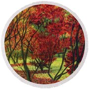 Autum Red Woodlands Painting Round Beach Towel