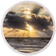 Autum Storm 001 Round Beach Towel