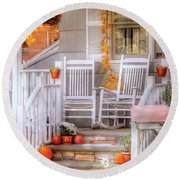 Autumn - House - My Aunts Porch Round Beach Towel by Mike Savad
