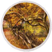 Autumn - Landscape - Country Road Side Round Beach Towel