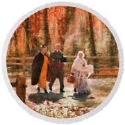 Autumn - People - A Walk In The Countryside Round Beach Towel