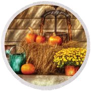Autumn - Pumpkin - A Still Life With Pumpkins Round Beach Towel