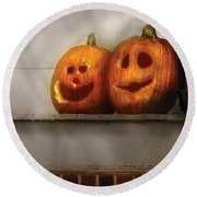 Autumn - Pumpkins - Two Goofy Pumpkins Round Beach Towel