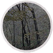Autumn 2015 Panorama In The Woods Pa 01 Round Beach Towel