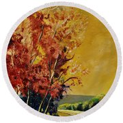 Autumn 68 Round Beach Towel