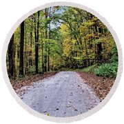 Autumn Along A Country Road 1 Round Beach Towel