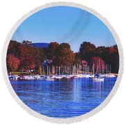 Autumn Along Lake Candlewood - Connecticut Round Beach Towel