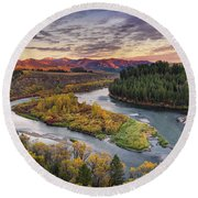 Autumn Along The Snake River Round Beach Towel