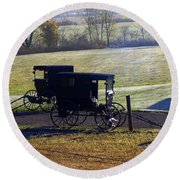 Autumn Amish Horse Buggy Round Beach Towel