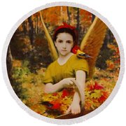 Autumn Angels Round Beach Towel