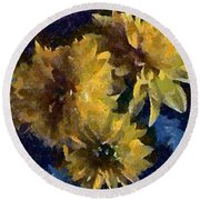 Autumn Asters Round Beach Towel