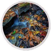 Autumn At A Mountain Stream Round Beach Towel