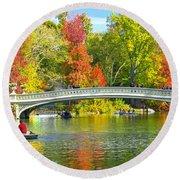 Autumn At Bow Bridge Central Park Round Beach Towel