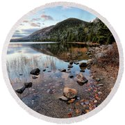 Autumn At Bubble Pond Round Beach Towel
