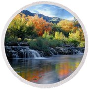 212m47-autumn At Cascade Springs  Round Beach Towel