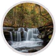 Autumn At Dunloup Creek Falls Round Beach Towel