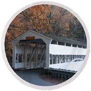 Autumn At Knox Covered Bridge In Valley Forge Round Beach Towel by Bill Cannon