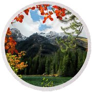 Autumn At String Lake Round Beach Towel