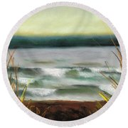 Autumn At The Lake Round Beach Towel