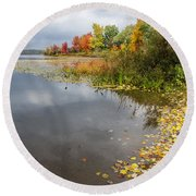 Autumn At The Lake In Nh Round Beach Towel
