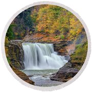 Autumn At The Lower Falls Round Beach Towel