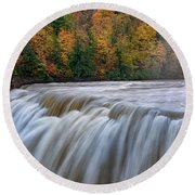 Autumn At The Middle Falls  Round Beach Towel
